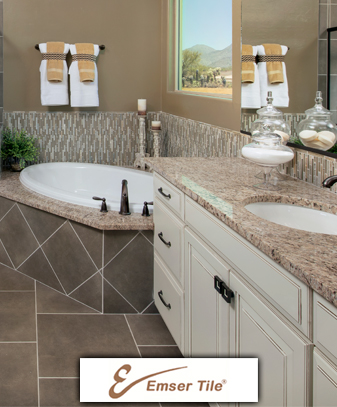 Come in to our showroom and see our extensive countertop choices of glass, stone, metallic
